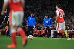 11 March 2017 - The FA Cup - (Sixth Round) - Arsenal v Lincoln City - Lincoln City manager Danny Cowley and brother Lincoln City Assistant Manager Nicky Cowley look on as Hector Bellerin of Arsenal makes a run down the wing - Photo: Marc Atkins / Offside.