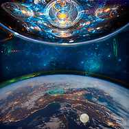 Earth in twilight below with its moon and aurora borealis and a body composed mostly of light equally as large parallels it above. What dimension do aliens inhabit? How will we familiarize ourselves with this aspect of our being?