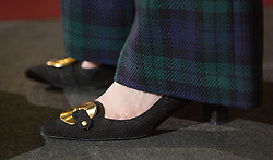© Licensed to London News Pictures. 30/06/2016. London, UK. Theresa May wore tartan trousers and shoes with a gold buckle as she launched her Conservative party leadership bid. Boris Johnson and Michael Gove are expected to launch seperate campaigns later today.Photo credit: Peter Macdiarmid/LNP