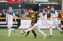 Alloa Athletic's Darren Young and Falkirk's Blair Alston.<br /> half time : Alloa Athletic 0 v 0 Falkirk, Scottish Championship game played today at Alloa Athletic's home ground, Recreation Park.<br /> © Michael Schofield.