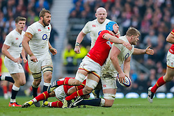 England Lock George Kruis is tackled by Wales Scrum-Half Gareth Davies and replacement Justin Tipuric - Mandatory byline: Rogan Thomson/JMP - 12/03/2016 - RUGBY UNION - Twickenham Stadium - London, England - England v Wales - RBS 6 Nations 2016.