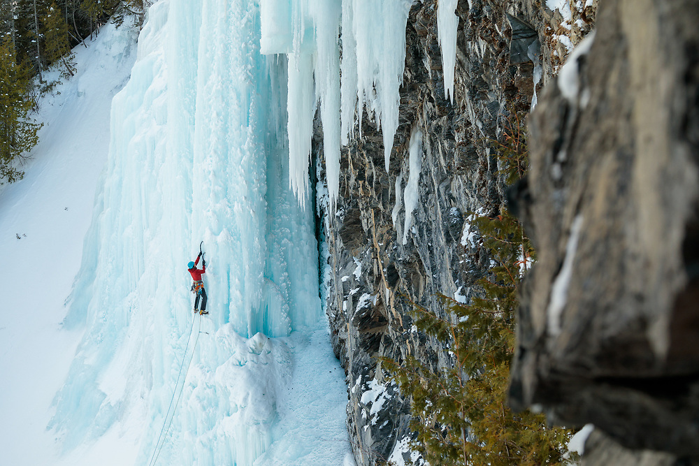 Nathalie Fortin climbing Une Fiere Chandelle in Saint-Maxime-Du-Mont-Louis, Gaspesie, Quebec