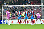 Rochdale midfielder Ollie Rathbone (14) scores goal to go 3-1 during the EFL Sky Bet League 1 match between Scunthorpe United and Rochdale at Glanford Park, Scunthorpe, England on 8 September 2018. Photo Ian Lyall