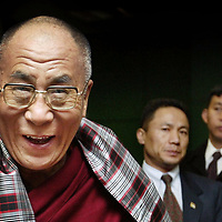 The Dalai Lama arrives at Edinburgh airport from the US to start a two-day visit.Picture David Cheskin.
