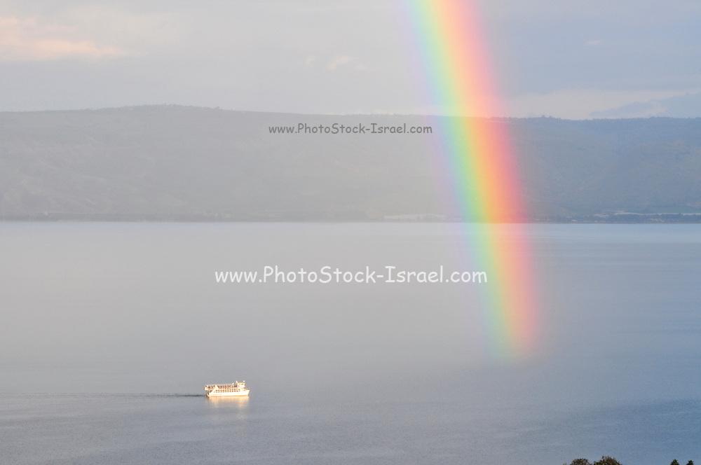 Israel, Tiberias, A rainbow on the Sea of Galilee