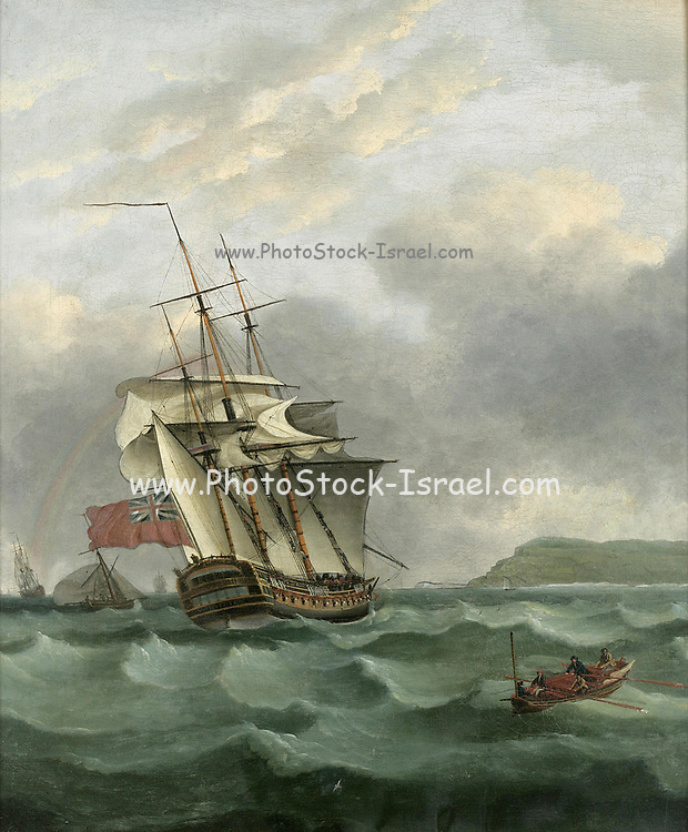 H.M.S Winterton Approaching Dover, (c 1795) By Thomas Whitcombe (possibly 19 May 1763 – c. 1824) was a prominent British maritime painter of the Napoleonic Wars. Among his work are over 150 actions of the Royal Navy, and he exhibited at the Royal Academy, the British Institution and the Royal Society of British Artists. His pictures are highly sought after today.