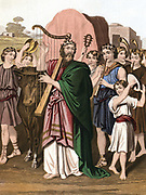 King David playing before the Ark 'David and all the house of Israel brought up the Ark of the Lord with shouting and with the sound of the trumpe''.  'Bible' II Samuel 6.  Mid-19th century chromolithograph.
