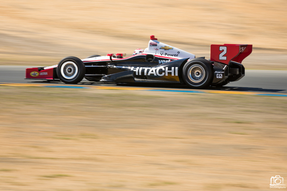 Ryan Briscoe, #2, accelerates through the straight away between turns 2 and 3 during the GoPro Indy Grand Prix of Sonoma at Infineon Raceway in Sonoma, Calif., on Aug. 26, 2012.  Briscoe would go on to win the Grand Prix with a total time of 2:07:02:8248 and an average speed of 95.74 MPH.  Photo by Stan Olszewski/SOSKIphoto.