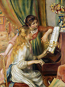 Young Girls at the Piano'.  One girl is at the keyboard while the other leans against the upright piano looking at the music being played. Pierre Renoir (1841-1919) French mpressionist artist.