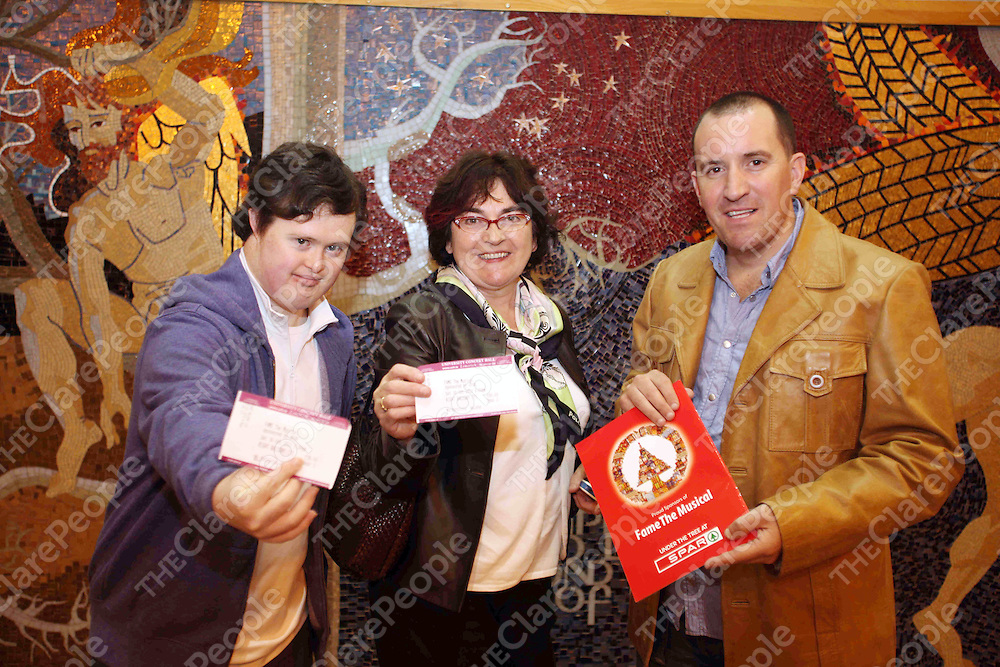 ***with compliments***<br /> SPAR competition winners attended FAME the musical in the University Concert Hall on Saturday 30th October 2010.<br /> Pictured receiving the free tickets from Colin Power (SPAR IRELAND) were Joseph & Imelda Mullins (Killaloe, Clare)<br /> PIc Emma Jervis