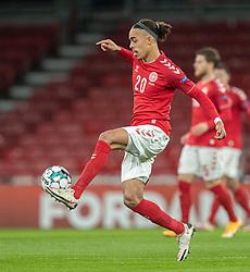 Yussuf Poulsen (Danmark) under kampen i Nations League mellem Danmark og Island den 15. november 2020 i Parken, København (Foto: Claus Birch).