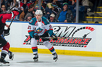KELOWNA, CANADA - JANUARY 26: Schael Higson #21 of the Kelowna Rockets skates against the Vancouver Giants  on January 26, 2019 at Prospera Place in Kelowna, British Columbia, Canada.  (Photo by Marissa Baecker/Shoot the Breeze)