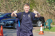 AFC Wimbledon goalkeeper Aaron Ramsdale (35) arriving during the EFL Sky Bet League 1 match between AFC Wimbledon and Charlton Athletic at the Cherry Red Records Stadium, Kingston, England on 23 February 2019.