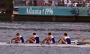 Atlanta, USA. GBR M4- in the closing stages of the final. Bow, Rupert OBHOLZER, Jonny SEARLE, Greg SEARLE and stroke, Tim FOSTER. 1996 Olympic Rowing Regatta Lake Lanier, Georgia, USA.  [Mandatory Credit Peter Spurrier/ Intersport Images]