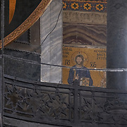 Jesus Christ Mosaic On The Wall Of Hagia Sophia Byzantine Orthodox Church, Istanbul