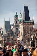 View across Charles Bridge to the Lesser Town of Prague (Mala Strana in Czech language).