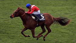 Threat ridden by jockey Tom Marquand wins the Hot Streak Maiden Stakes during day two of the QIPCO Guineas Festival at Newmarket Racecourse.