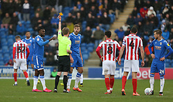 Harry Pell of Colchester United receives a yellow card - Mandatory by-line: Arron Gent/JMP - 29/02/2020 - FOOTBALL - JobServe Community Stadium - Colchester, England - Colchester United v Cheltenham Town - Sky Bet League Two