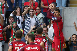 August 31, 2017 - Porto, Portugal - Portugal's forward Cristiano Ronaldo celebrates after scoring a goal during the 2018 FIFA World Cup qualifying football match between Portugal and Faroe Islands at the Bessa XXI stadium in Porto, Portugal on August 31, 2017. (Credit Image: © Pedro Fiuza/NurPhoto via ZUMA Press)