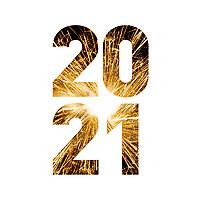 Nyttårsmarkering i form av fyrverkeribilde i årstallet «Godt nyttår 2021».