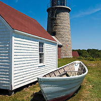 Monhegan Island Lighthouse in the summer midday light