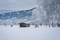 THEMENBILD - ein Heustadl und verschneite Bäume auf einer weitläufigen Wiese, die mit Schnee bedeckt ist, aufgenommen am 30. Dezember 2020 in Zell am See, Oesterreich // a hay barn and snow-covered trees on a vast meadow covered with snow, in Zell am See, Austria on 2020/12/30. EXPA Pictures © 2020, PhotoCredit: EXPA/Stefanie Oberhause