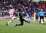 Matty Blair has a shot for goal during the EFL Sky Bet League 1 match between Doncaster Rovers and Coventry City at the Keepmoat Stadium, Doncaster, England on 4 May 2019.