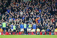 Oldham Athletic and supporters go wild and celebrate with the side's 1-2 victory after The FA Cup 3rd round match between Fulham and Oldham Athletic at Craven Cottage, London, England on 6 January 2019.