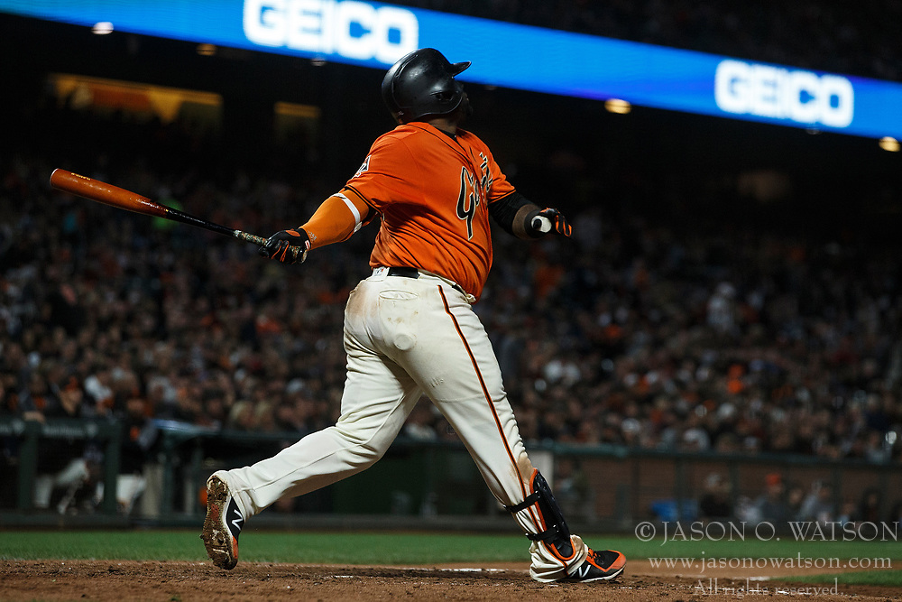 SAN FRANCISCO, CA - JULY 06: Pablo Sandoval #48 of the San Francisco Giants hits a home run against the St. Louis Cardinals during the sixth inning at AT&T Park on July 6, 2018 in San Francisco, California. The San Francisco Giants defeated the St. Louis Cardinals 3-2. (Photo by Jason O. Watson/Getty Images) *** Local Caption *** Pablo Sandoval