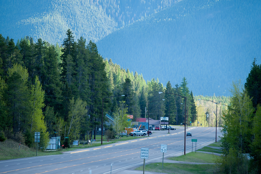 Highway 2 as it goes through the tiny town of Coram, Montana.