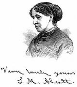 Louisa May Alcott  (1832-1888) American writer. Wood engraving 1875