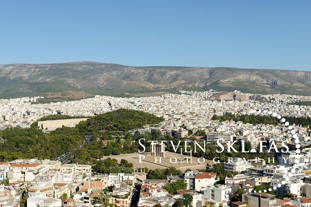 Panoramic view of the Temple of Olympian Zeus (Olympieion), Athens. Greece. It is the largest temple in Greece which took nearly 700 years to complete.