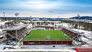 JÄMTKRAFT ARENA 2020-04-05<br /> Bilder på Jämtkraft Arena dagen för den planerade premiären i Allsvenskan.Bild från norr med Östersund i bakgrunden.<br /> <br /> Foto: Per Danielsson/Projekt.P<br /> Spridningstillstånd: LM2020/007425