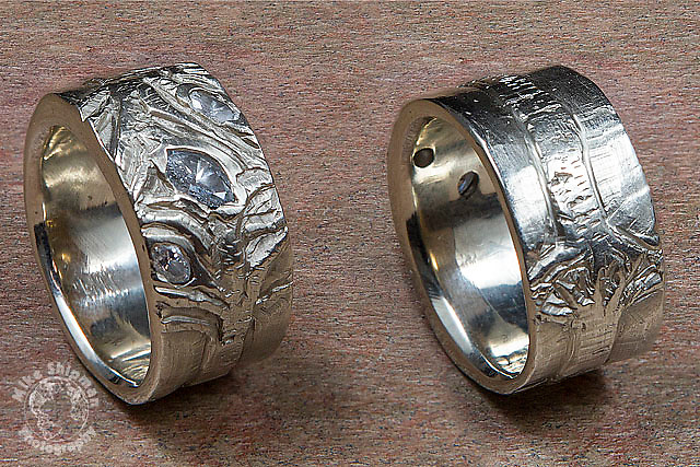 Custom women's white gold and diamond wedding ring with carved aspen trees (two views)