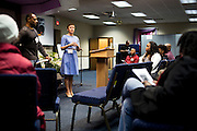 MILWAUKEE, WI – MARCH 28: Zeidler Center Executive Director, Dr. Katherine Wilson, opens up discussion before the Harambee neighborhood Police and Resident Discussion circle at Grace Fellowship Church on Monday, March 28, 2016.