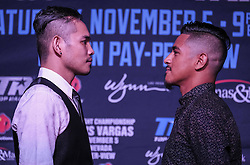 """September 27, 2016 - Los Angeles, California, U.S - Boxers Bonito Donaire, left, and, Jessie Magdaleno in a press conference on September 27, 2016 in Los Angeles. Three action-packed world championship fights (NONITO DONAIRE VS. JESSIE MAGDALENO îSCAR VALDEZ VS. HIROSHIGE OSAWA ZOU SHIMING VS. PRASITAK PAPOEM) will act as co-main events to the MANNY Ã'PacmanÃ"""" PACQUIAO Ð JESSIE VARGAS World Boxing Organization (WBO) welterweight world title fight, Saturday, November 5, at the Thomas & Mack Center on the campus of the University of Nevada, Las Vegas. (Credit Image: © Ringo Chiu via ZUMA Wire)"""