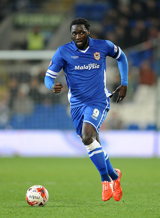 Cardiff City's Kenwyne Jones in action during todays match  <br /> <br /> Photographer Ian Cook/CameraSport<br /> <br /> Football - The Football League Sky Bet Championship - Cardiff v Bournemouth - Tuesday 17th March 2015 - Cardiff City Stadium - Cardiff<br /> <br /> © CameraSport - 43 Linden Ave. Countesthorpe. Leicester. England. LE8 5PG - Tel: +44 (0) 116 277 4147 - admin@camerasport.com - www.camerasport.com