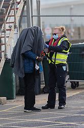© Licensed to London News Pictures. 24/10/2021. DOVER, UK. Migrants arriving at Dover docks again today whilst weather conditions are still good, the sea is calm and before the weather changes for winter. Photo credit: Stuart Brock/LNP