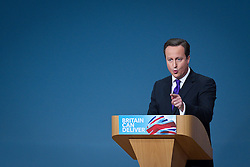 © Licensed to London News Pictures. 10/10/2012. Birmingham , UK . The British Prime Minister , David Cameron , delivers his closing speech to the 2012 Conservative Party Conference . Day 4 of the Conservative Party Conference at the International Convention Centre in Birmingham . Photo credit : Joel Goodman/LNP