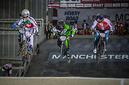 #373 (BLANC Renaud) SUI, #559 (ZULA Thomas) USA and #224 (CHRISTENSEN Chris) DEN at the 2016 UCI BMX Supercross World Cup in Manchester, United Kingdom<br /> <br /> A high res version of this image can be purchased for editorial, advertising and social media use on CraigDutton.com<br /> <br /> http://www.craigdutton.com/library/index.php?module=media&pId=100&category=gallery/cycling/bmx/SXWC_Manchester_2016