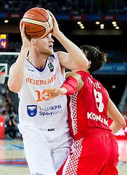 Rowland Schaftenaar of Netherlands vs Dario Saric of Croatia during basketball match between Netherlands and Croatia at Day 5 in Group C of FIBA Europe Eurobasket 2015, on September 9, 2015, in Arena Zagreb, Croatia. Photo by Vid Ponikvar / Sportida
