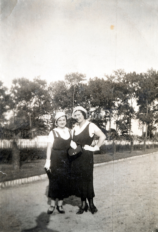 two fashionable women posing France ca 1930s
