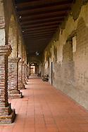 Old stone hallways in main courtyard at Mission San Juan Capistrano, San Juan Capistrano, California