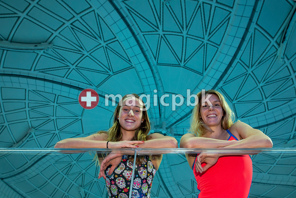 (L-R) Swiss swimmers Seraina STURZENEGGER and Svenja STOFFEL of Switzerland pose for a photo during a training session prior to the start of the 14th Fina World Short Course Swimming Championships in Hangzhou, China, Sunday, Dec. 9, 2018. (Photo by Patrick B. Kraemer / MAGICPBK)
