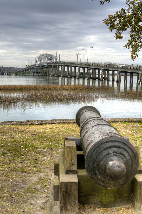 View of the Richard Woods Memorial Bridge from a small park in Beaufort, SC on Sunday, February 22, 2015. Copyright 2015 Jason Barnette