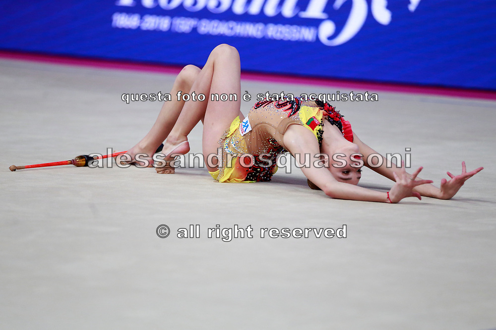 Salos Anastasiia during qualifying at clubs in Pesaro World Cup at Adriatic Arena on April 14, 2015. Anastasiia born on February 18 ,2002 in Barnaul. She is a rhythmic gymnast member of the Belarusian National Team.