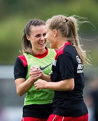 Bristol City Women's Georgia Evans and Olivia Fergusson share a joke during warm-up - Mandatory by-line: Paul Knight/JMP - 24/09/2016 - FOOTBALL - Stoke Gifford Stadium - Bristol, England - Bristol City Women v Durham Ladies - FA Women's Super League 2