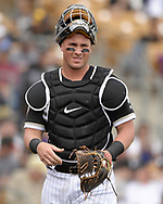GLENDALE, ARIZONA - MARCH 02:  James McCann #33 of the Chicago White Sox looks on against the Colorado Rockies on March 2, 2019 at Camelback Ranch in Glendale Arizona.  (Photo by Ron Vesely)  Subject:  James McCann