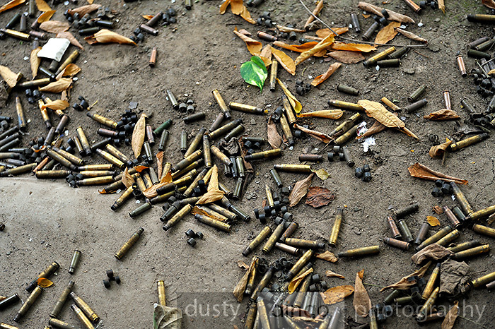 Assorted spent cartridges and M13 Links (clips which hold cartridges together in a disintegrating ammunition belt that is fed into a machine gun). Cu ChiTunnel Memorial, Cu Chi, Vietnam<br />