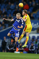 Lex Immers of Cardiff city is challenged by Paul Green of Rotherham ®. Skybet football league championship match, Cardiff city v Rotherham Utd at the Cardiff city stadium in Cardiff, South Wales on  Saturday 23rd January 2016.<br /> pic by  Andrew Orchard, Andrew Orchard sports photography.